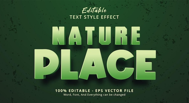 Nature place text on green color style effect, editable text effect