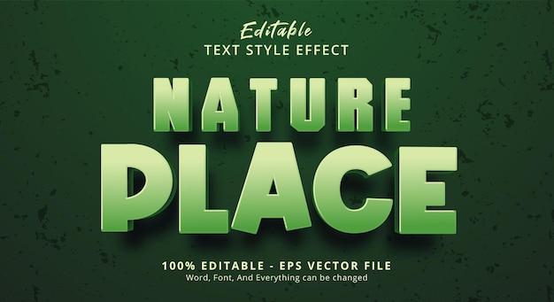 녹색 색상 스타일 효과에 nature place 텍스트, 편집 가능한 텍스트 효과