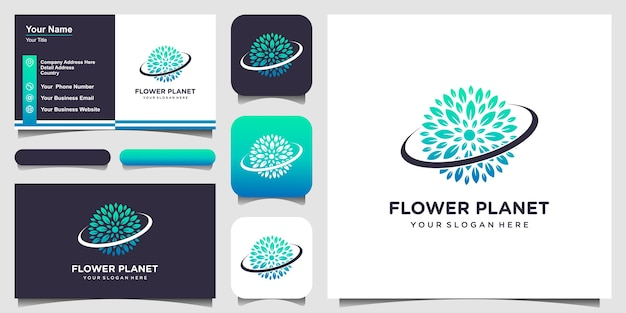 Nature planet with line art style logo and business card design.