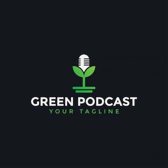 Nature podcast with leaf logo design template