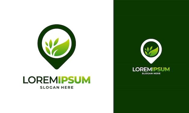 ネイチャーポイントのロゴデザインコンセプトベクトル農業ロゴ