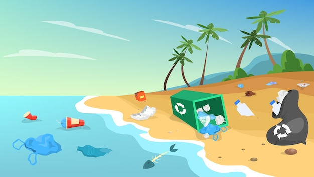 Загрязнение природы. мусор и мусор на пляже, опасность