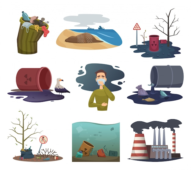 자연 오염. 정원 날씨 폐기물 쓰레기 재활용 환경 오염 벡터 사진 모음