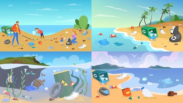 Nature pollution set. garbage and trash, danger for ecology
