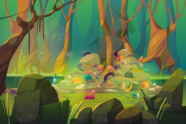 Inquinamento della natura, spazzatura sullo stagno della foresta.