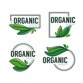 Nature  product,  doodle organic green  leaves emblems, stickers,  frames and logo