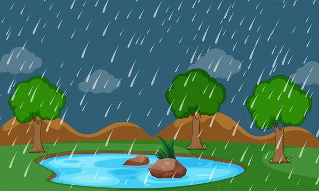 A nature raining scene