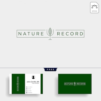 Nature record leaf nature badge line simple logo