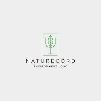 Nature record leaf studio line badge simple logo template vector illustration icon element - vector