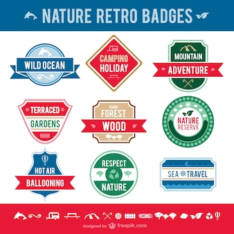 Nature retro badges