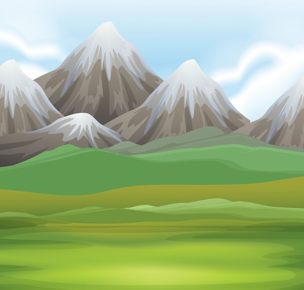 Nature scene background of field and mountains