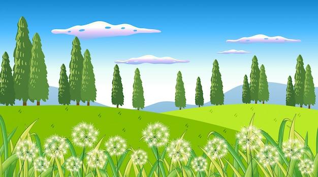 정원에서 꽃과 자연 장면 배경 무료 벡터