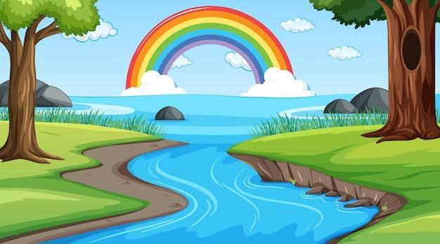 Фон сцены природы с радугой в небе