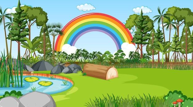 空に虹と自然シーンの背景