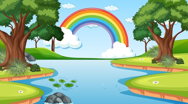 Nature scene background with rainbow in the sky