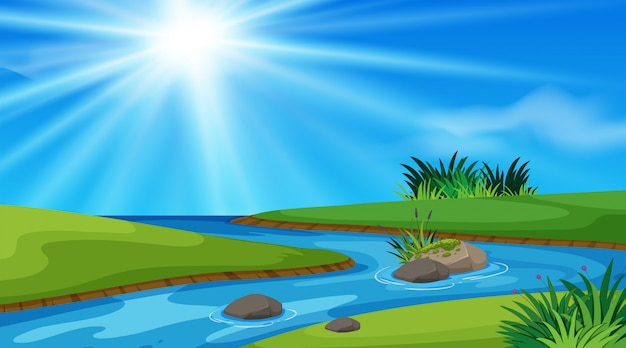 Nature scene background with river and green field