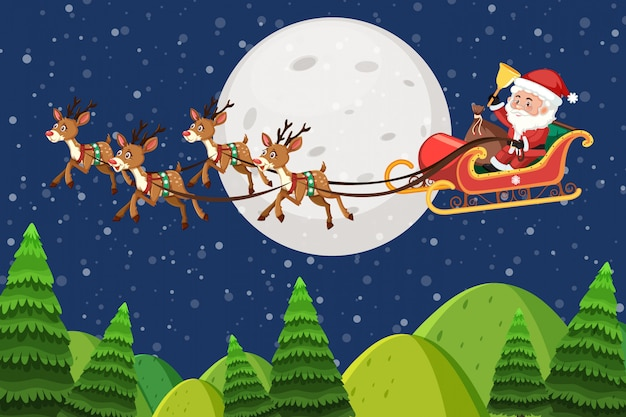 Nature scene background with santa flying at night