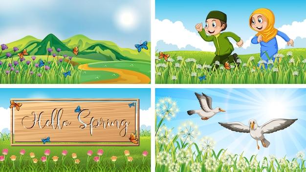 공원에서 어린이와 조류와 자연 장면 배경