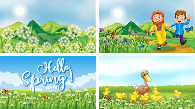 Nature scene backgrounds with kids and animals in the park