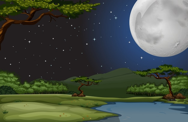 Nature scene on fullmoon night