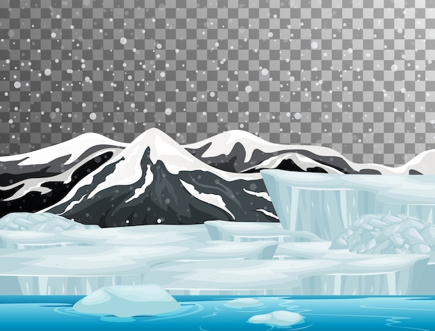 透明な背景を持つ冬の季節のテーマの自然シーン