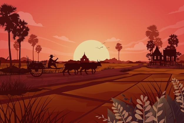 田舎の土地農業草地の自然シーン、田んぼで働くアジアの農民の抽象的なシルエット、イラスト