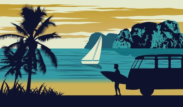 夏の海の自然シーン