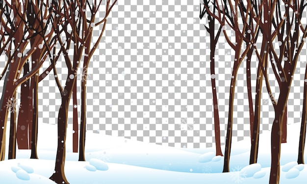 Nature scene in winter season theme with transparent