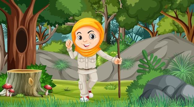 森の中を探索するイスラム教徒の少女の漫画のキャラクターと自然のシーン
