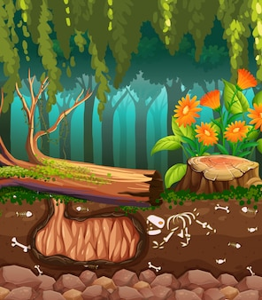 Nature scene with animal bones underground