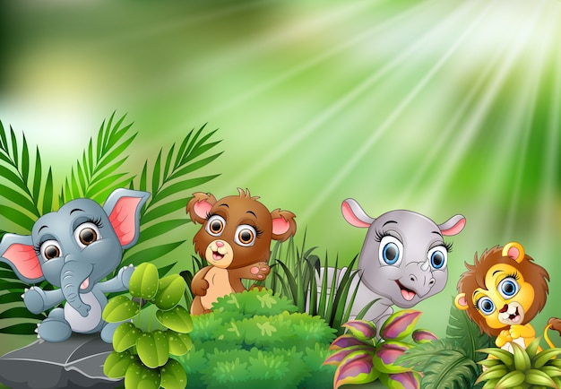Nature scene with baby animals cartoon