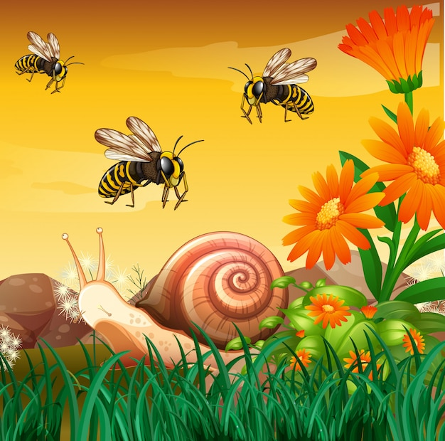 Nature scene with bees and snail