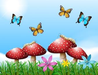 Nature scene with butterflies in garden