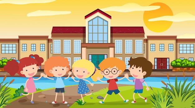 Nature scene with children at school