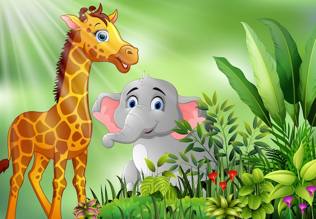 Nature scene with elephant and giraffe cartoon