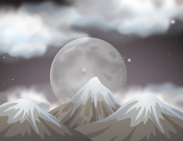 Nature scene with fullmoon behind the mountains