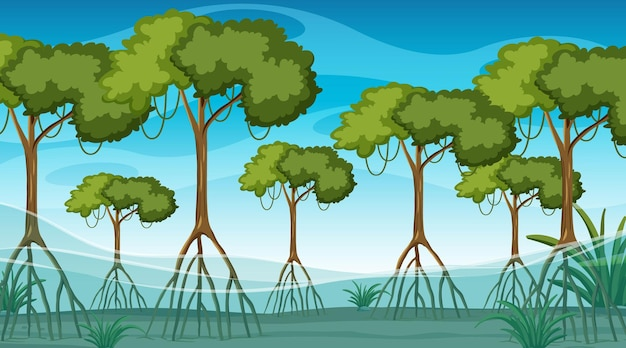 만화 스타일의 낮에는 맹그로브 숲이있는 자연 장면 무료 벡터