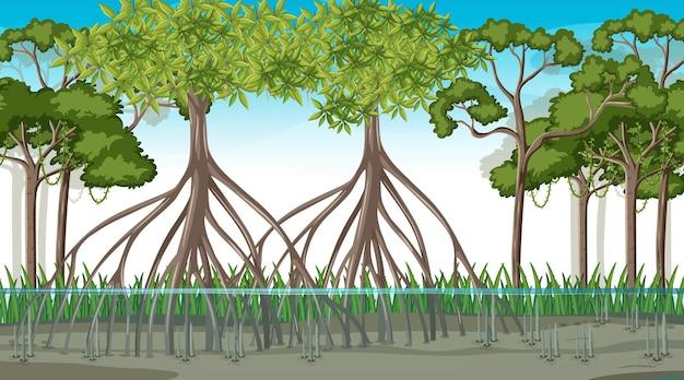 漫画風の昼間のマングローブの森と自然シーン