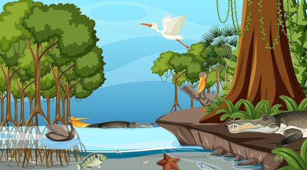 만화 스타일의 낮에 맹그로브 숲이 있는 자연 장면