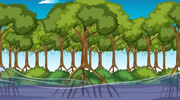 Сцена природы с мангровым лесом в дневное время в мультяшном стиле