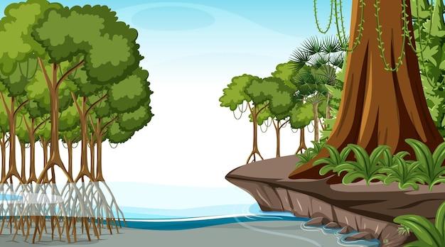 Сцена природы с мангровым лесом в дневное время в мультяшном стиле Бесплатные векторы