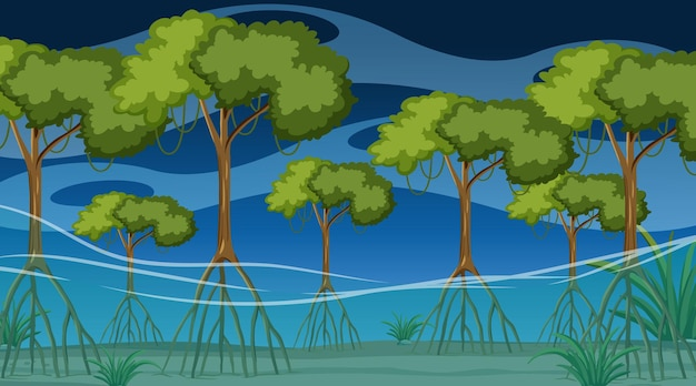 만화 스타일의 밤에 맹그로브 숲이 있는 자연 장면