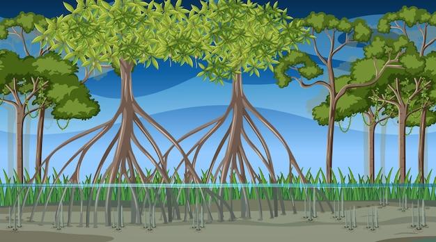 漫画風の夜のマングローブの森と自然シーン