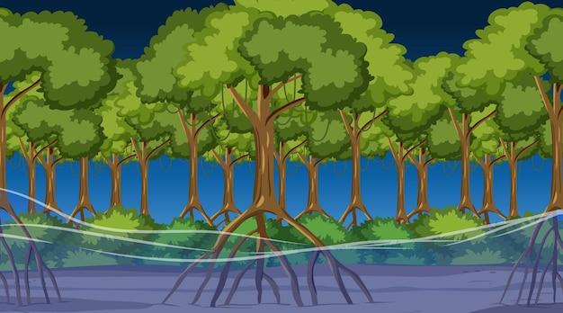 Сцена природы с мангровым лесом ночью в мультяшном стиле