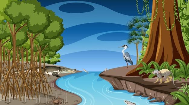 Сцена природы с мангровым лесом в ночное время в мультяшном стиле