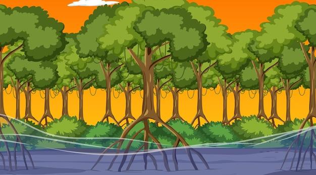 만화 스타일의 일몰 시간에 맹그로브 숲이 있는 자연 장면