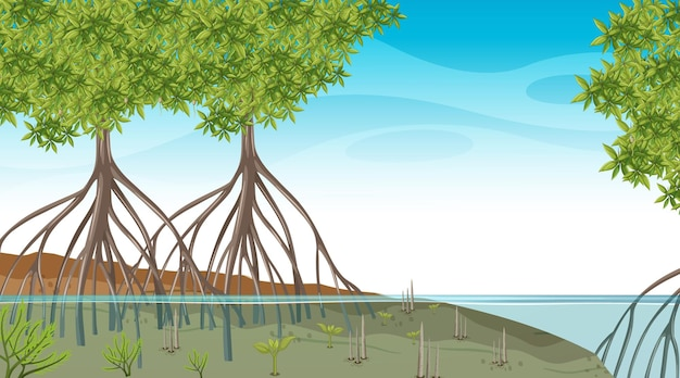 Nature scene with mangrove forest at daytime in cartoon style