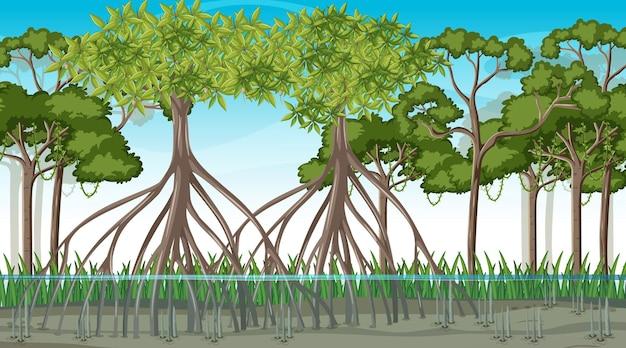 Сцена природы с мангровым лесом в мультяшном стиле