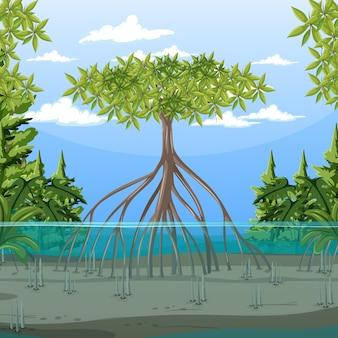 漫画風のマングローブの森と自然シーン