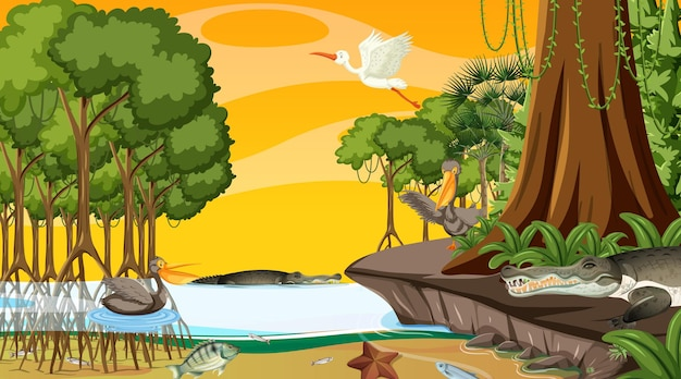 Nature scene with mangrove forest at sunset time in cartoon style